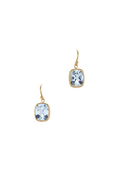 Caroline Ellen - Yellow Gold Faceted Aquamarine Dangle Earrings