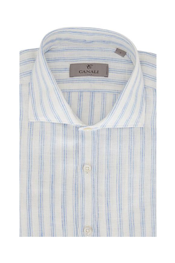 Canali Light Blue & White Stripe Linen Blend Sportshirt