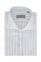 Canali - Light Blue & White Stripe Linen Blend Sportshirt