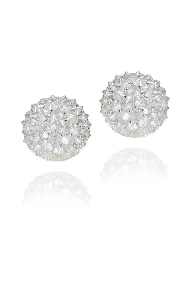 White Gold Half Ball Stud Earrings