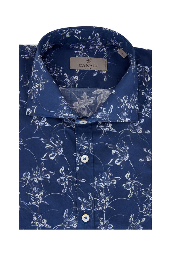 Canali Blue & White Floral Sport Shirt