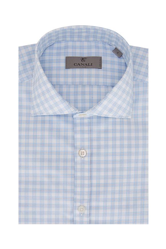 Canali Light Blue Check Sport Shirt