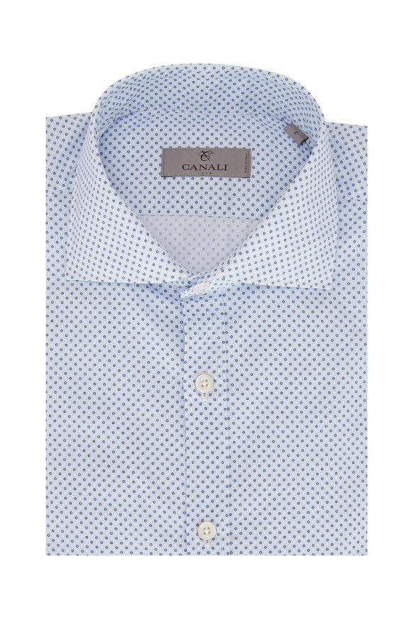 Canali Navy Geometric Print Sport Shirt