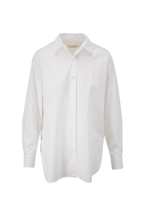 Nili Lotan Yorke White Cotton Button Down Shirt