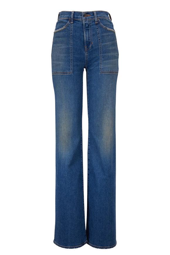 Veronica Beard Crosbie Waterfall High-Rise Wide Leg Jean