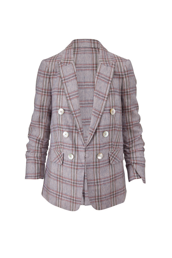 Veronica Beard Beacon Blue Multi Plaid Linen Jacket