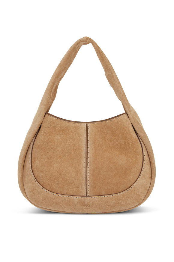 Tod's Shirt Hobo Cognac Suede Small Handbag