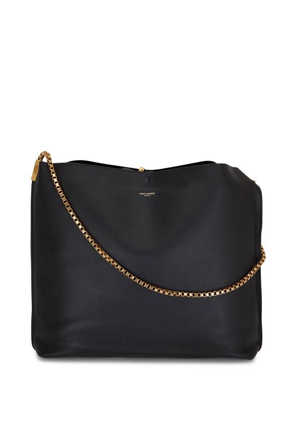 Saint Laurent Suzanne Black Leather Chain Hobo Bag