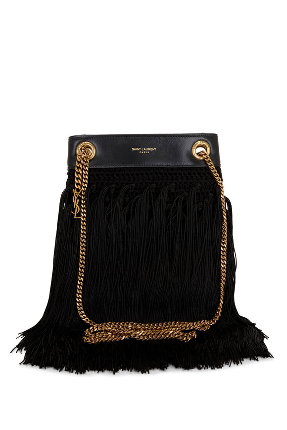 Saint Laurent Grace Black Suede Fringe Small Bag
