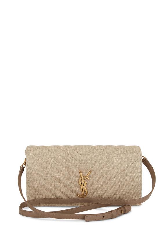 Saint Laurent Kate Natural Linen Shoulder Bag