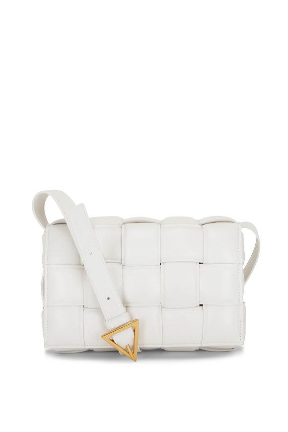 Bottega Veneta Cassette Chalk Padded Woven Leather Bag