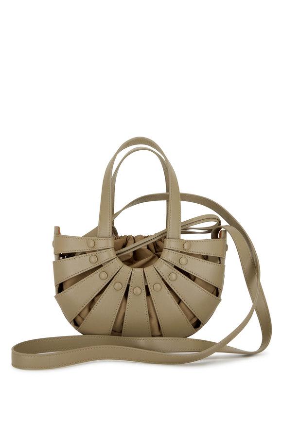 Bottega Veneta The Shell Taupe Leather Mini Basket Bag