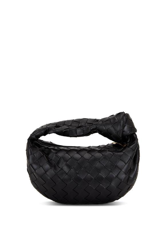 Bottega Veneta Jodie Black Woven Napa Leather Mini Knot Hobo