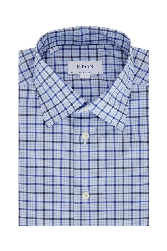 Eton Blue & Navy Check Contemporary Fit Sport Shirt