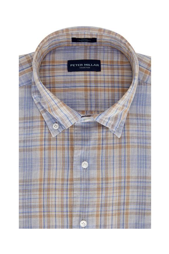 Peter Millar Pont Blue Cielo Plaid Sport Shirt