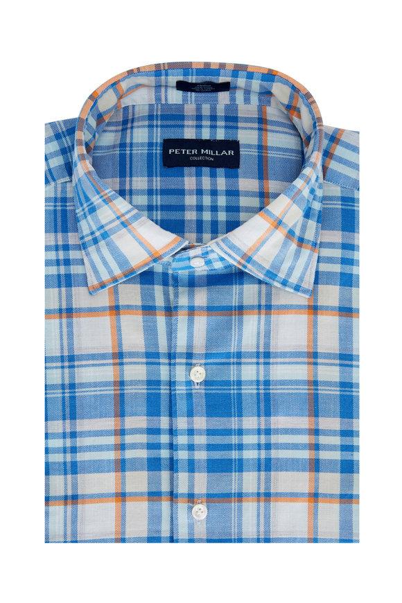 Peter Millar Parc Blue Cielo Plaid Tailored Fit Sport Shirt