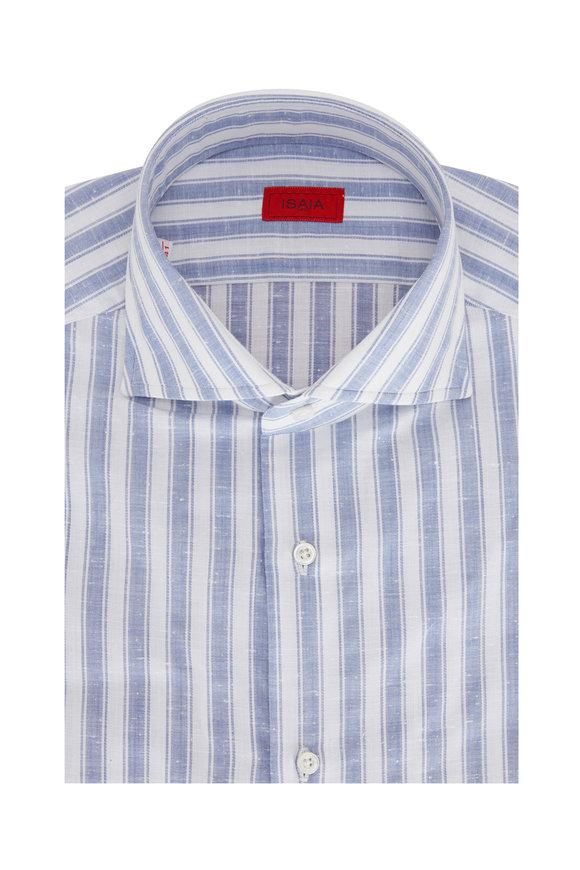 Isaia Blue & White Soft Stripe Sport Shirt