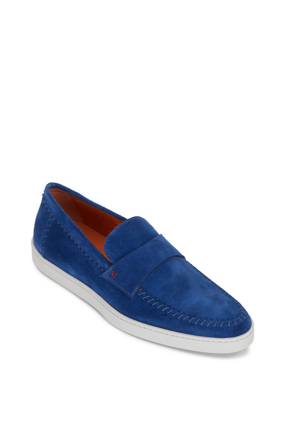 Santoni Banker Light Blue Suede Loafer