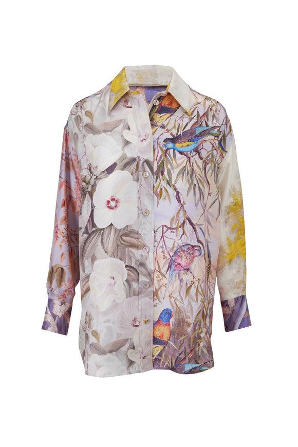 Zimmermann Botanica Book Print Silk Oversize Shirt