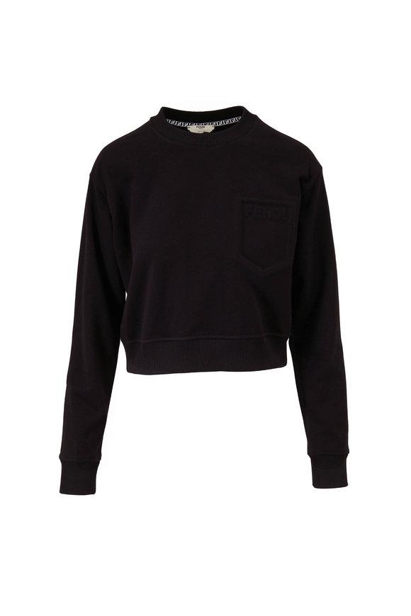 Fendi Black Embossed Logo Pocket Crop Sweatshirt