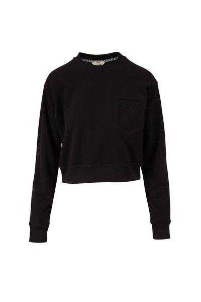 Fendi - Black Embossed Logo Pocket Crop Sweatshirt