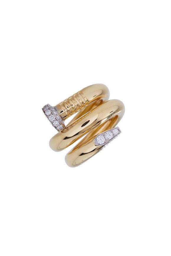 David Webb Gold & Platinum Diamond Nail Ring