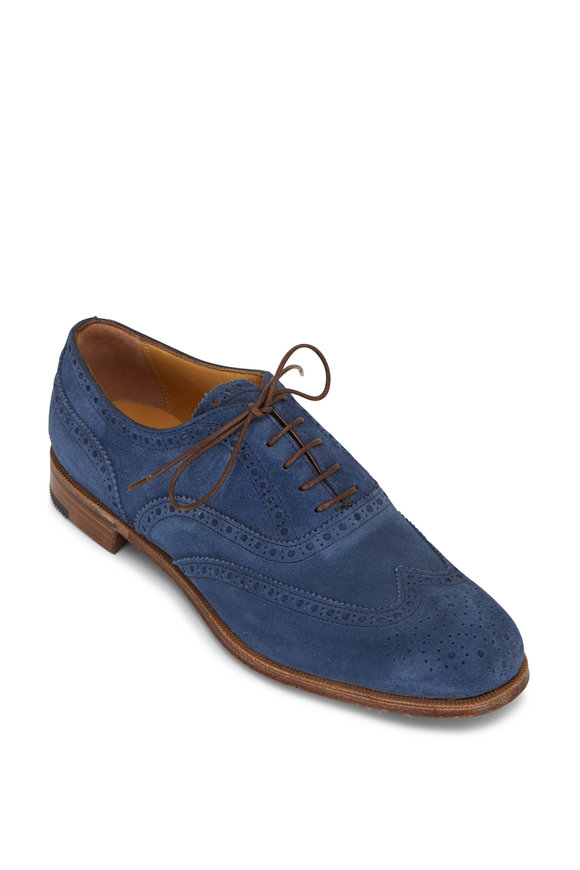 Gravati Medium Blue Suede Wingtip Oxford Shoe