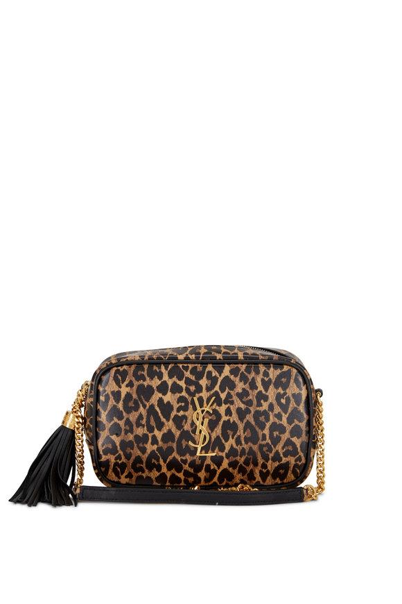 Saint Laurent Lou Leopard Heart Monogram Tassel Bag