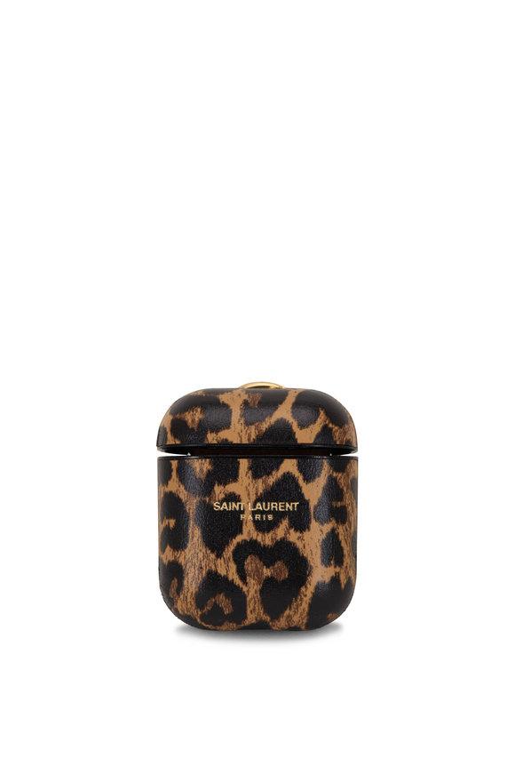 Saint Laurent Leopard Heart Leather Airpods Case