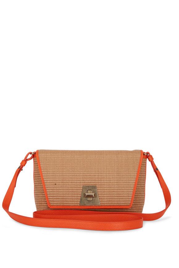 Akris Anouk Natural Raffia & Orange Leather Small Daybag