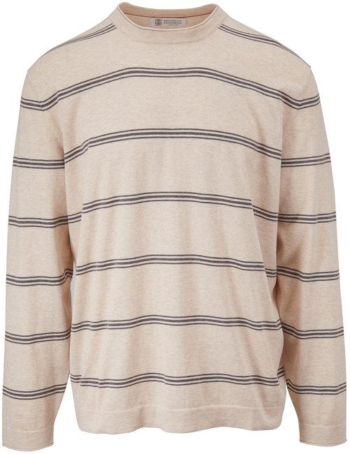 Brunello Cucinelli Cream & Gray Stripe Cotton Crewneck Pullover