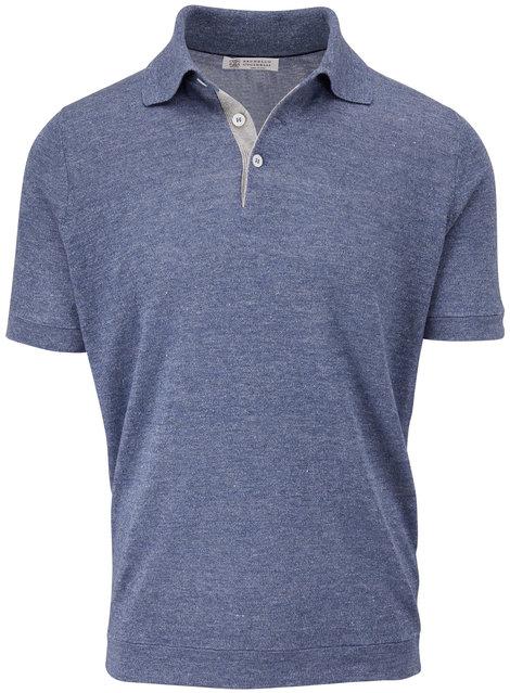 Brunello Cucinelli Blue Linen & Cotton Polo