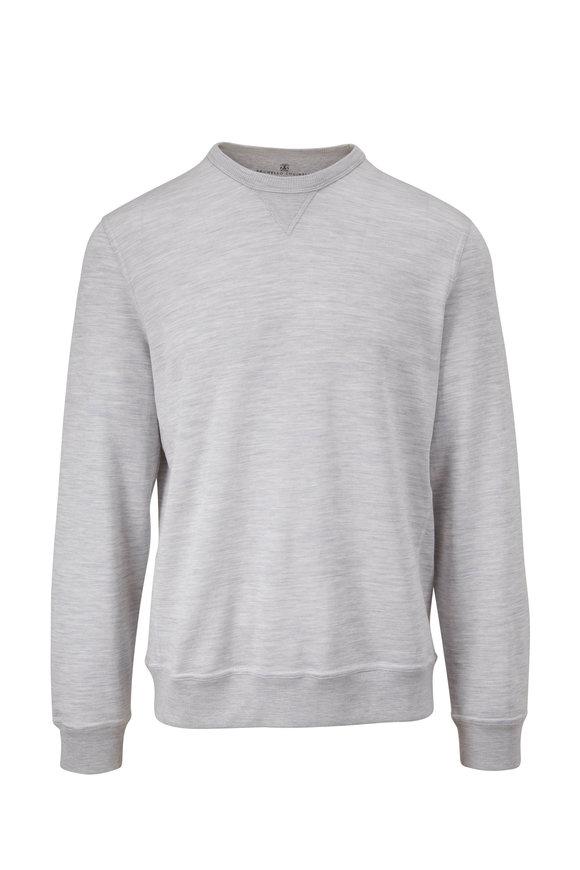 Brunello Cucinelli Gray Cotton & Silk Crewneck Sweatshirt