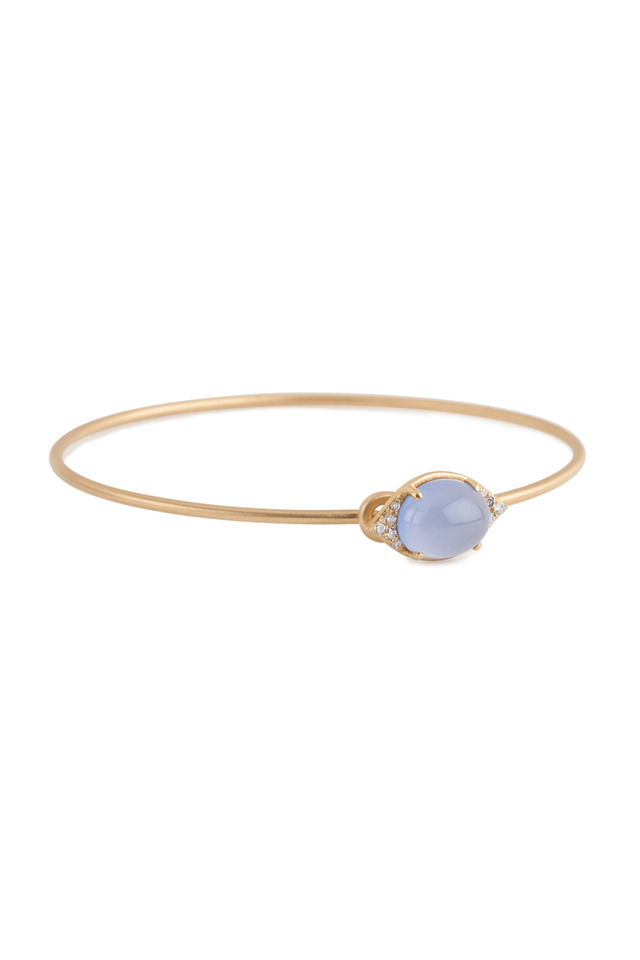 Aladdin Yellow Gold Chalcedony Diamond Bangle