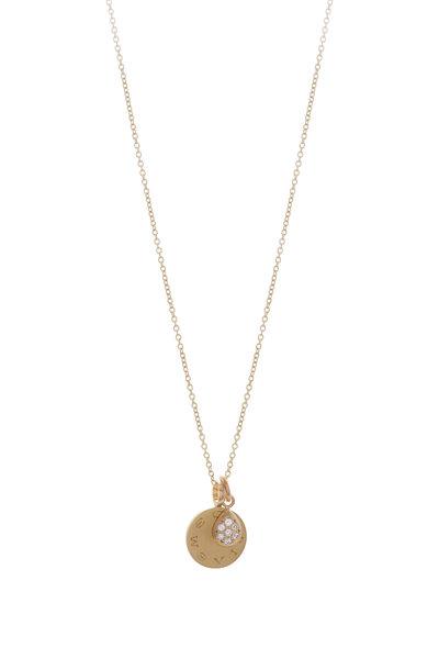 Caroline Ellen - 20K Yellow Gold Disc & Pavé Charm Necklace
