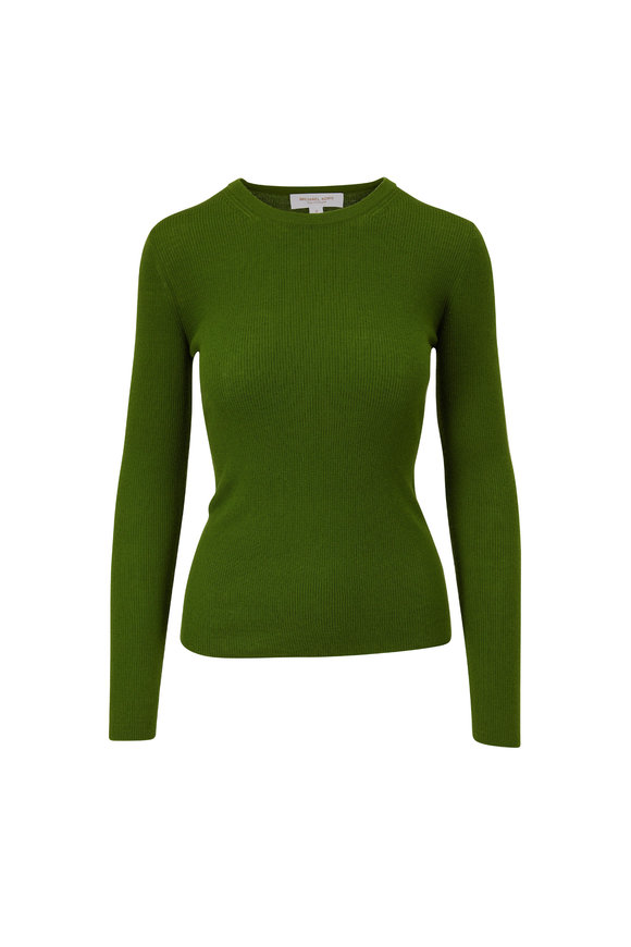 Michael Kors Collection Lawn Ribbed Cashmere Crewneck Pullover