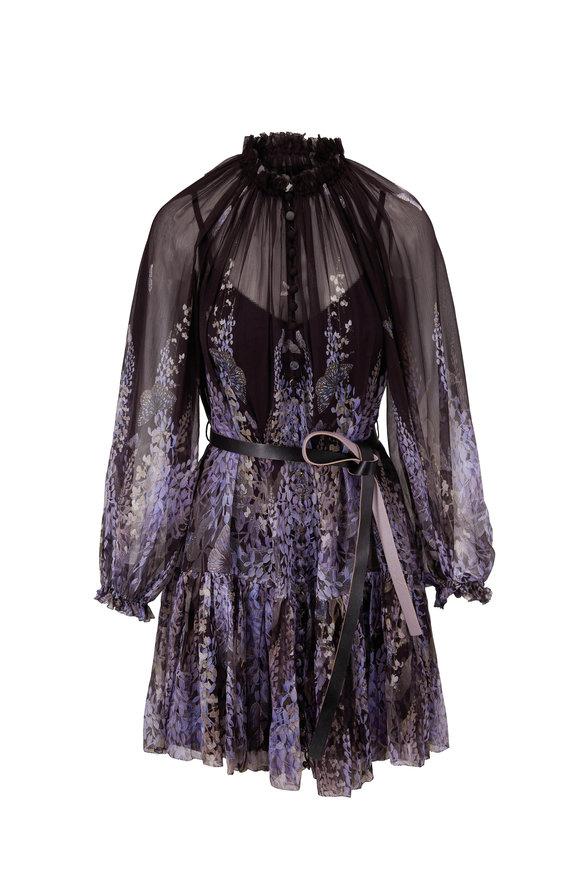 Zimmermann Botanica Lantern Black Lavender Tea Mini Dress