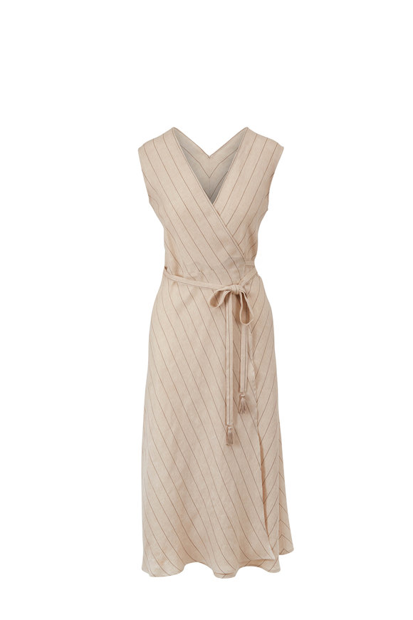 Antonelli Marlena Khaki Stripe Wrap Dress
