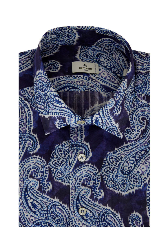 Etro Blue Hombre Paisley Sport Shirt