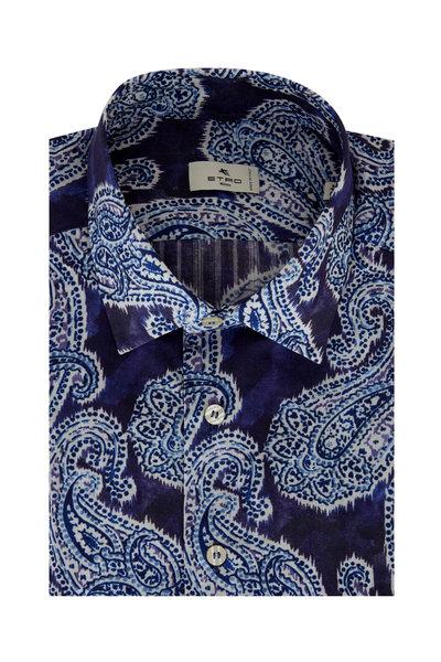Etro - Blue Hombre Paisley Sport Shirt