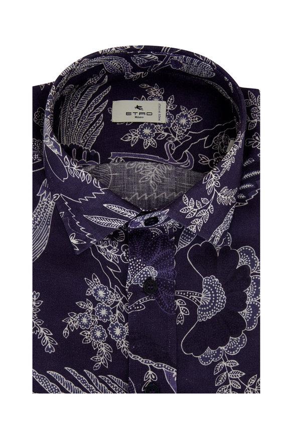 Etro Navy Asian Floral Print Short Sleeve Sport Shirt