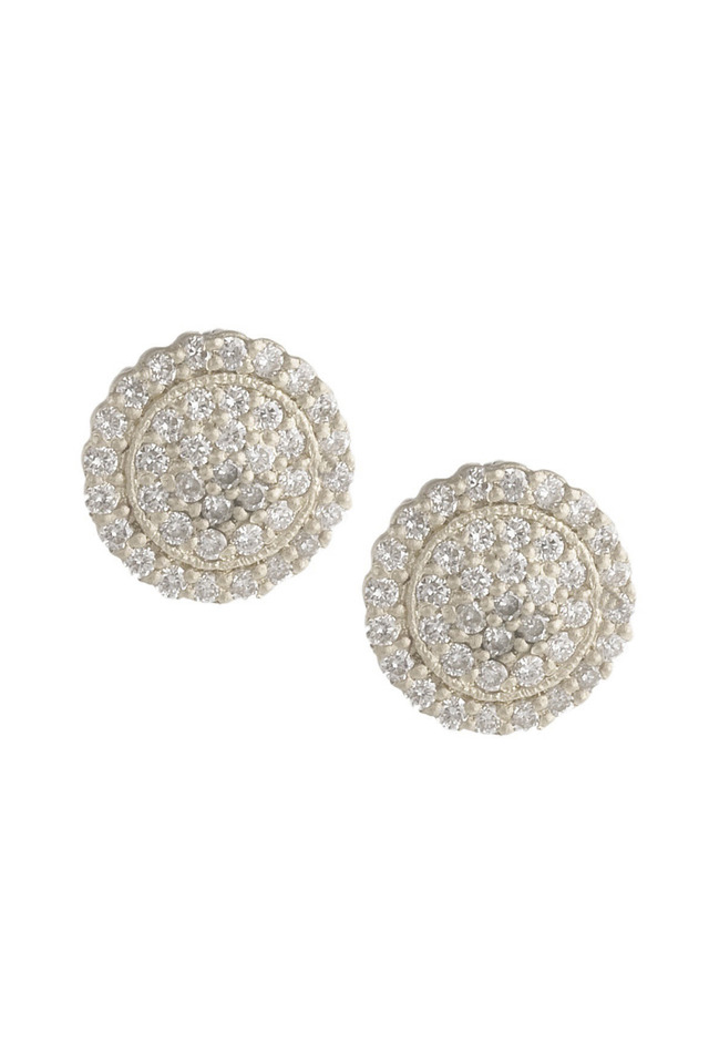 White Gold Scallop Pave Diamond Stud Earrings