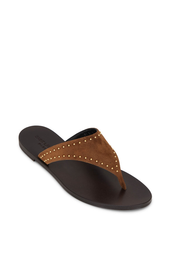 Saint Laurent Gia Land Suede Thong Sandal