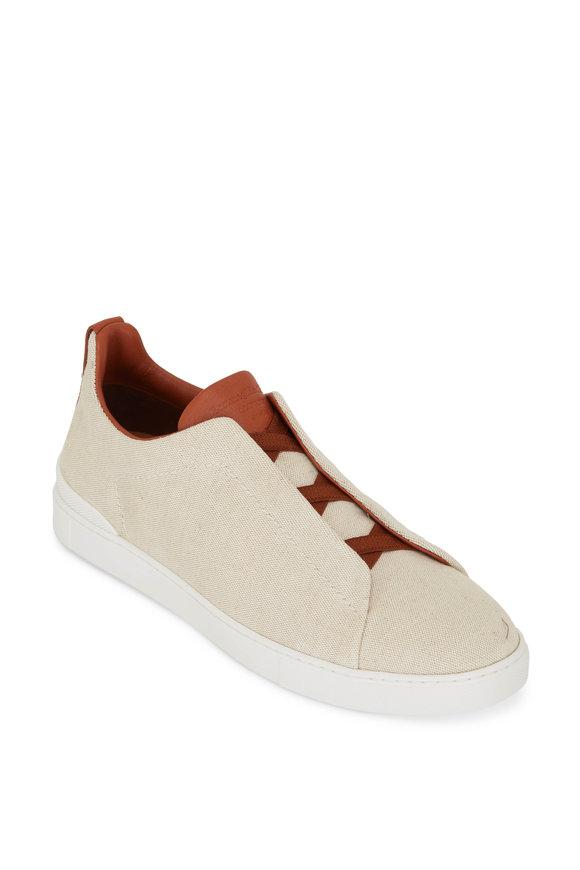 Ermenegildo Zegna Cream Canvas Triple Stitch Sneaker