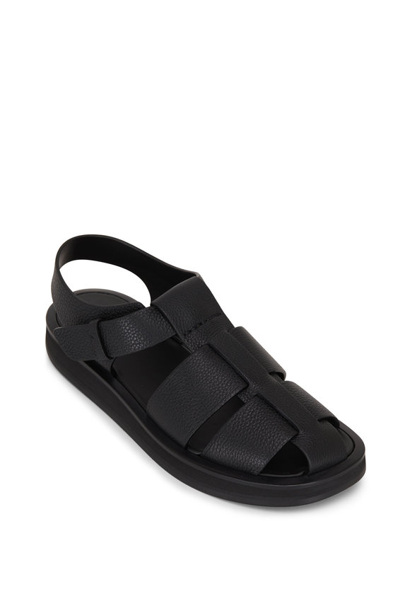 The Row Fisherman Black Grained Leather Sandal