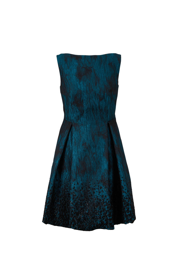 Talbot Runhof Coraly1 Teal Jacquard Paillette Sleeveless Dress
