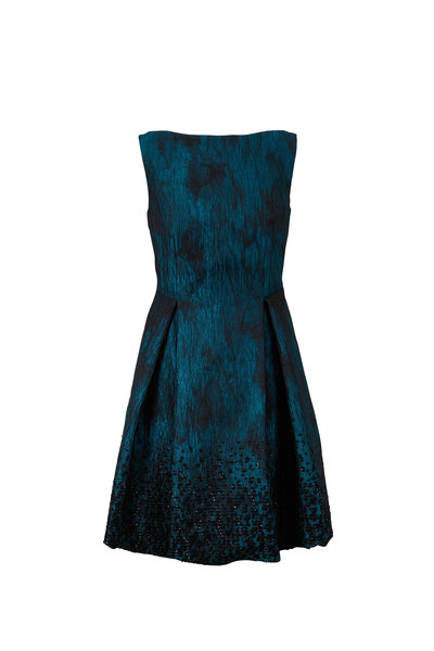 Talbot Runhof - Coraly1 Teal Jacquard Paillette Sleeveless Dress