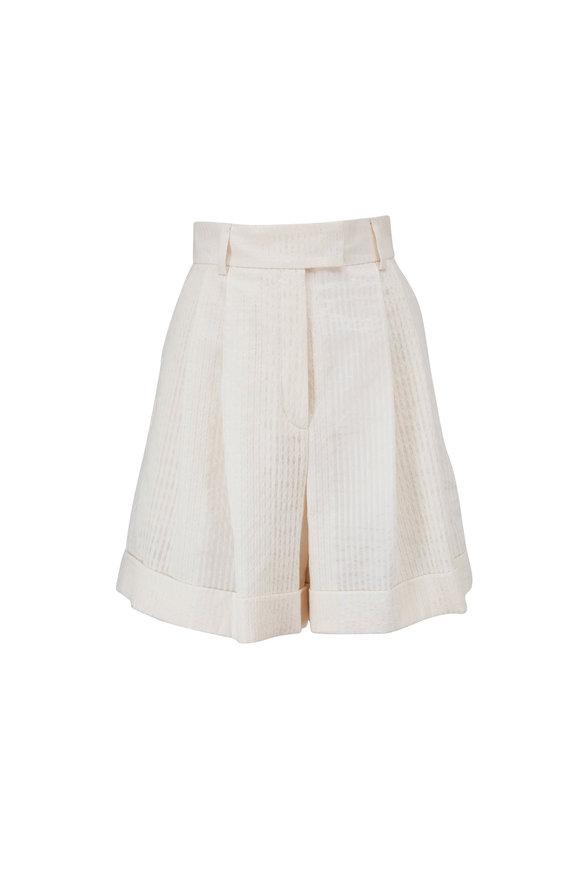 Akris White Cotton Tonal Stripe Shorts