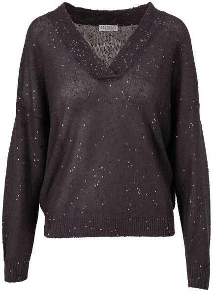 Brunello Cucinelli Charcoal Gray Linen & Silk Paillette Sweater