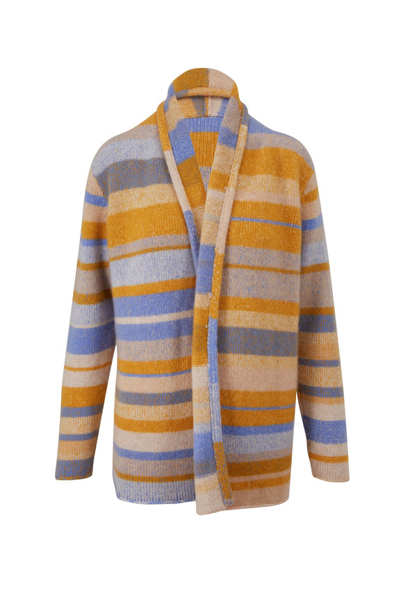 The Elder Statesman Italy Yellow Stripe Cashmere Smoking Jacket